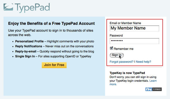 TypePad Connect にログイン