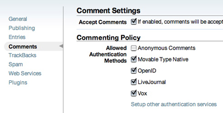Commenting Policy の設定画面