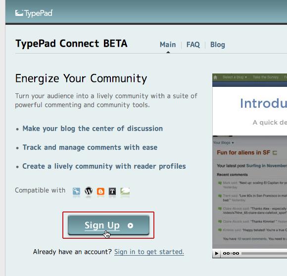 TypePad Connect にサインアップ