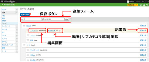 カテゴリの作成と管理 ・カテゴリの一覧画面で作成