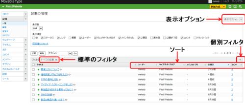 コンテンツやユーザを一覧画面で管理する ・表示項目の追加とソート1