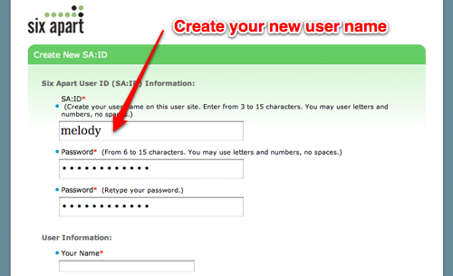 Create your new user name