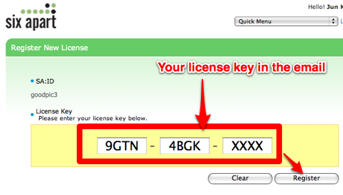 Input your license key